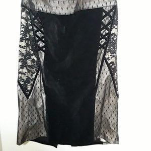 TRIPP NYC goth black velvet lace pencil skirt Sz M